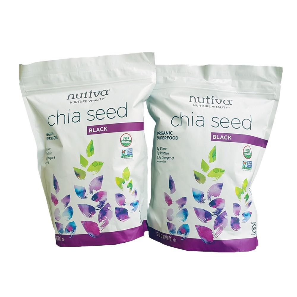 Hạt Chia Mỹ Nutiva Chia Seed Black 1.36Kg (Mẫu mới) - Nhập khẩu từ Mỹ