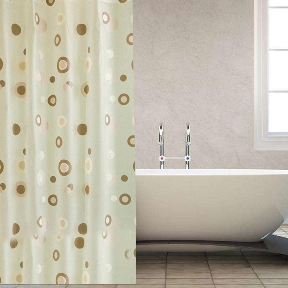 Rèm Phòng tắm PEVA không thấm nước 1.8m viền tròn vàng nâu