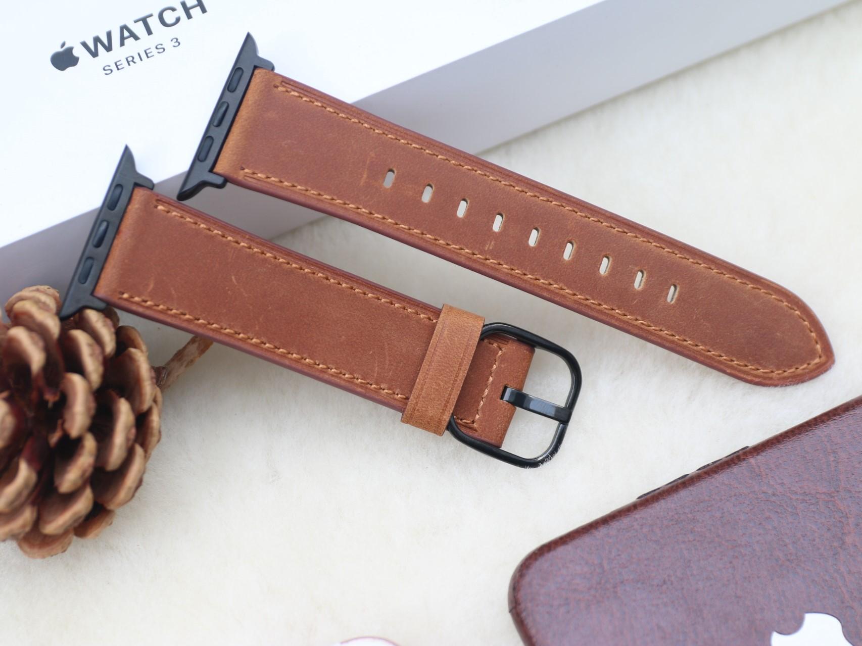 Dây Da Bò Cao Cấp chất da Mềm màu săc Nâu Ngựa, Nâu dành cho Apple Watch Size 38mm / 40mm / 42mm / 44mm