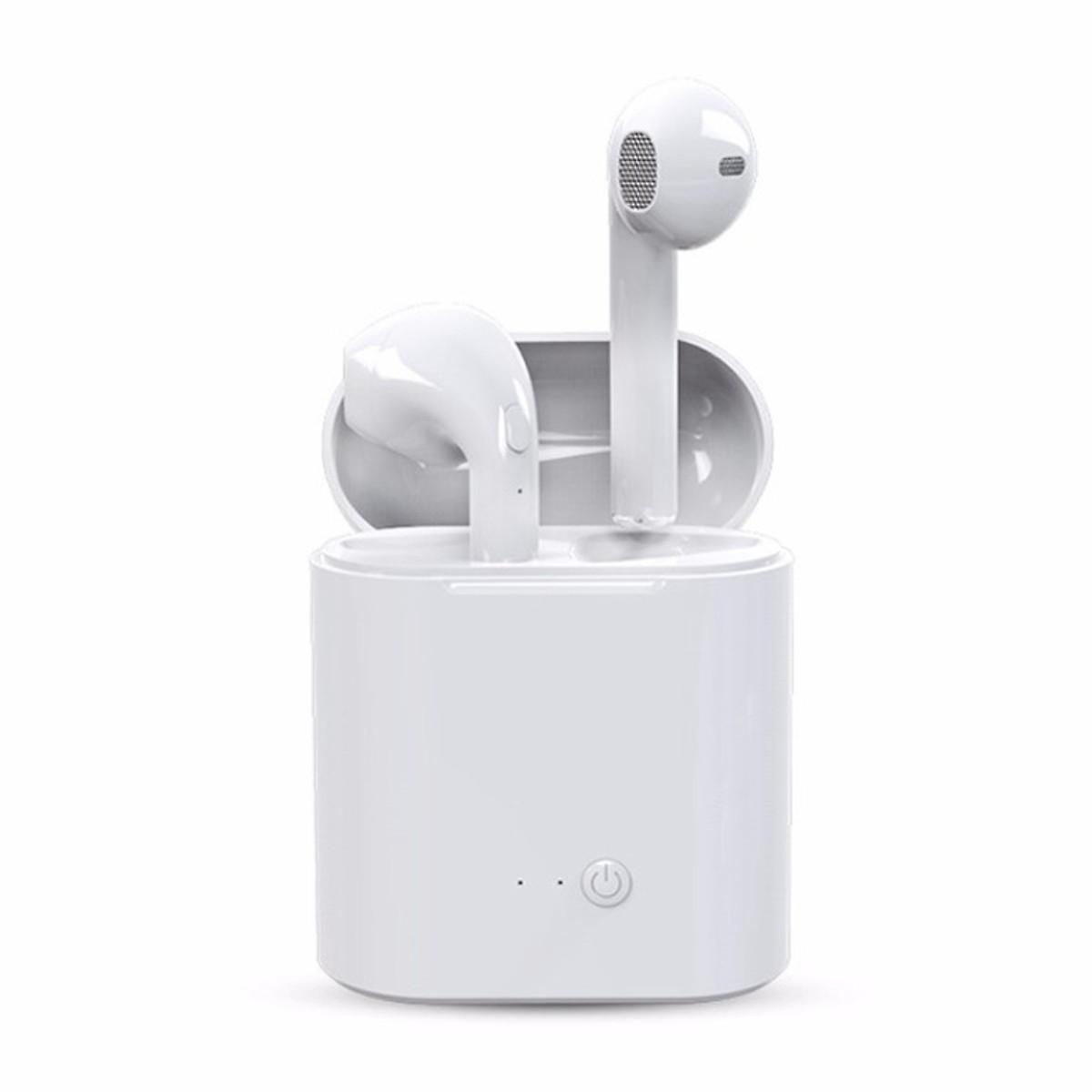 Tai nghe 2 tai Bluetooth không dây I7S cho IPhone, Android - Hàng chính hãng + Tặng thú nhún emoji ngộ nghĩnh