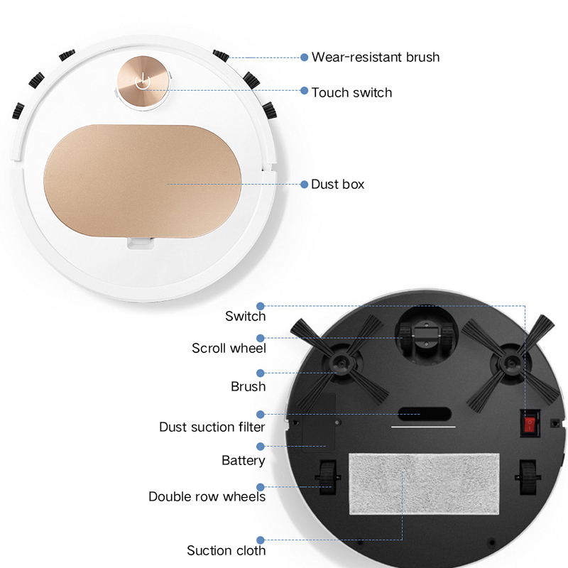Robot Hút Bụi Lau Nhà Thông Minh ES350 PRO Điều khiển qua APP Điện thoại Cao Cấp 3 Trong 1, Cảm Biến Chạm, Chống Va Chạm Thông Minh - Hàng nhập khẩu