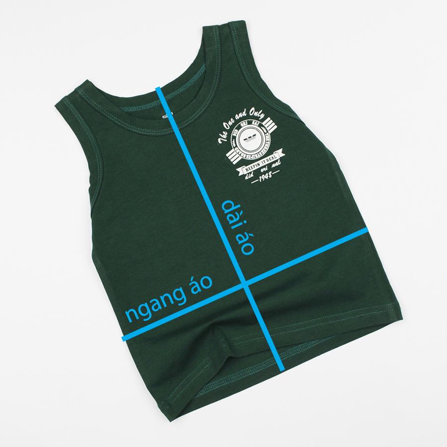 Áo ba lỗ xanh rêu mặc mát cho bé trai 0.5-7 tuổi từ 10 đến 22 kg 00487
