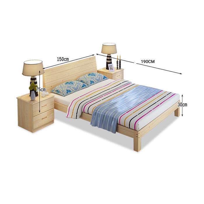 Giường gỗ thông có ngăn kéo để đồ kích thước 150x190cm