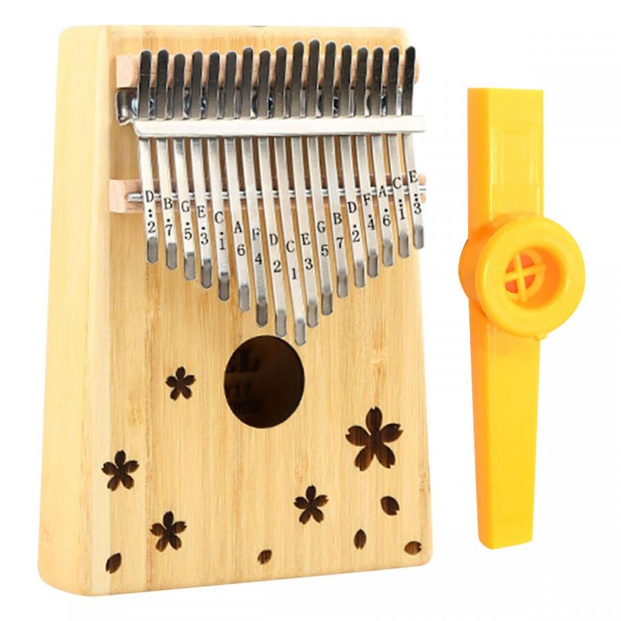 Đàn Kalimba 17 phím Gỗ Mahogany Tặng Kèm Kèn Kazoo - Mẫu Tròn Hoa