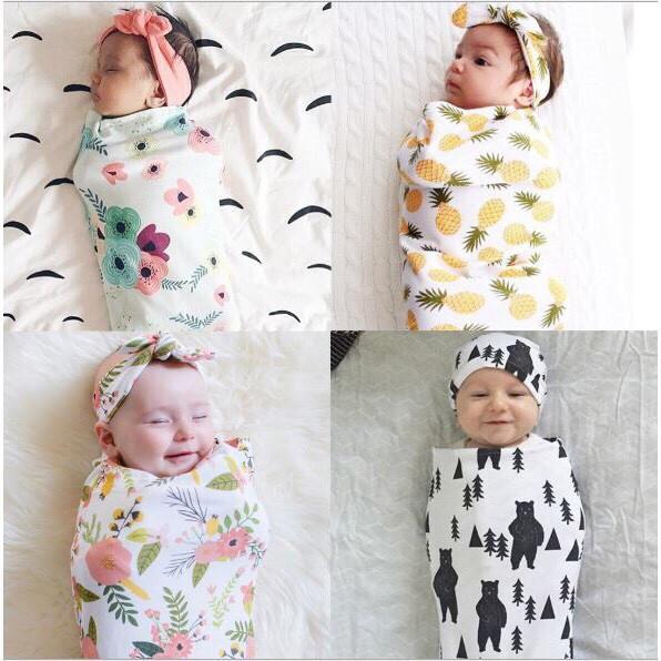 Khăn quấn siêu mềm kèm chăn đa năng cho bé sơ sinh kích thước 127cm*106cm tặng kèm dụng cụ tưa lưỡi cho bé