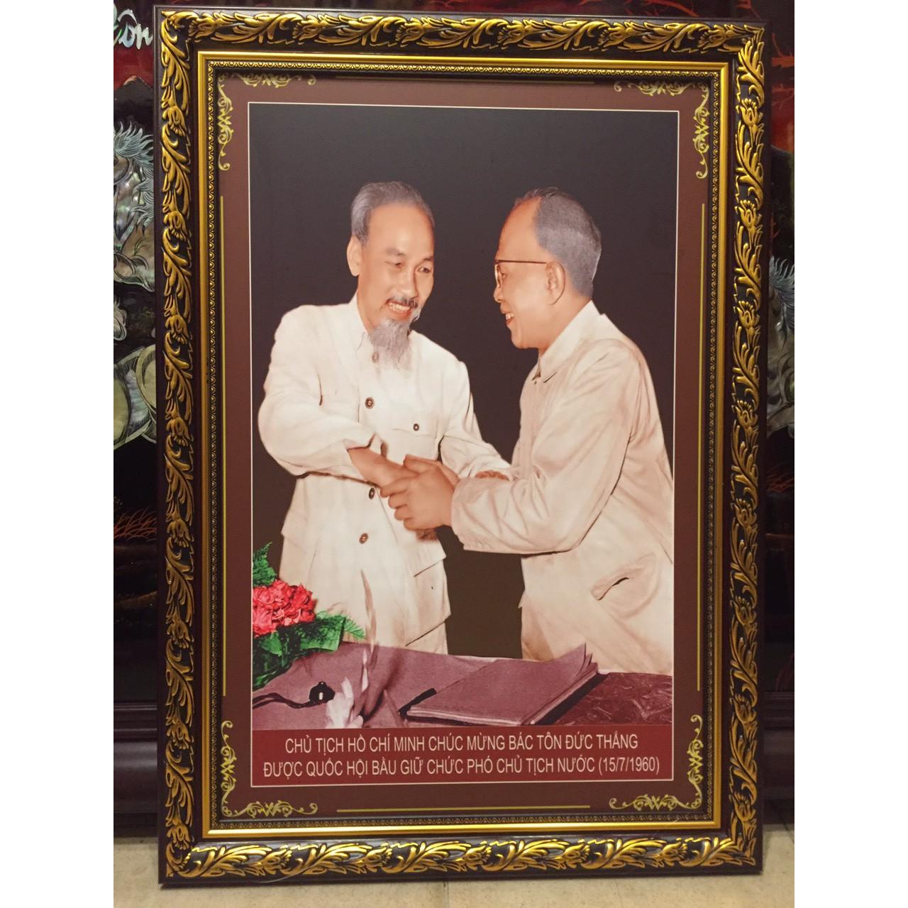 Tranh Ảnh Chủ tịch Hồ Chí Minh & Phó Chủ tịch Tôn Đức Thắng 1960 - B09