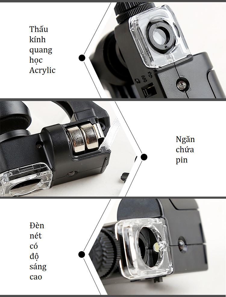 Kính lúp kẹp điện thoại thông minh, độ phóng đại 90 lần có đèn ( Tặng móc khóa tô vít 3in1)