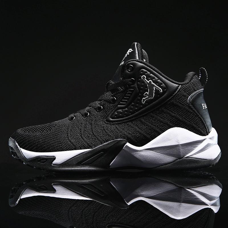 Giày bóng rổ nam mầu đen trắng dệt thoáng khí HML19BL
