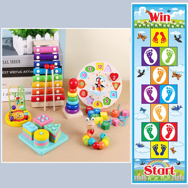 Combo 6 món đồ chơi gỗ an toàn cho bé + 1 tấm bạc jumping mat cho bé- Giao đúng mẫu