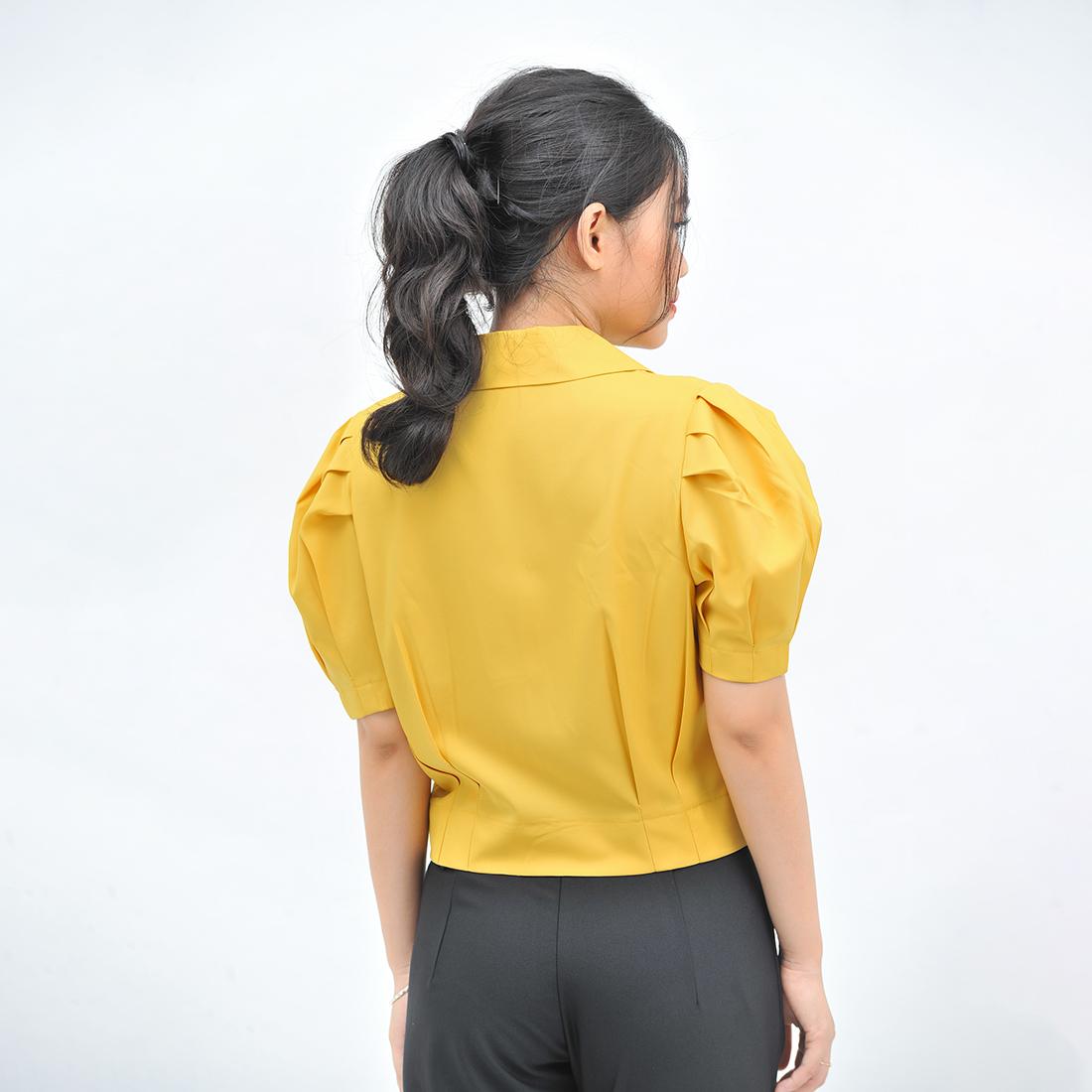 Áo kiểu nữ thời trang Eden dáng ngắn cổ danton. Kiểu dáng thời trang. Chất liệu mềm mại, không nhăn - ASM111