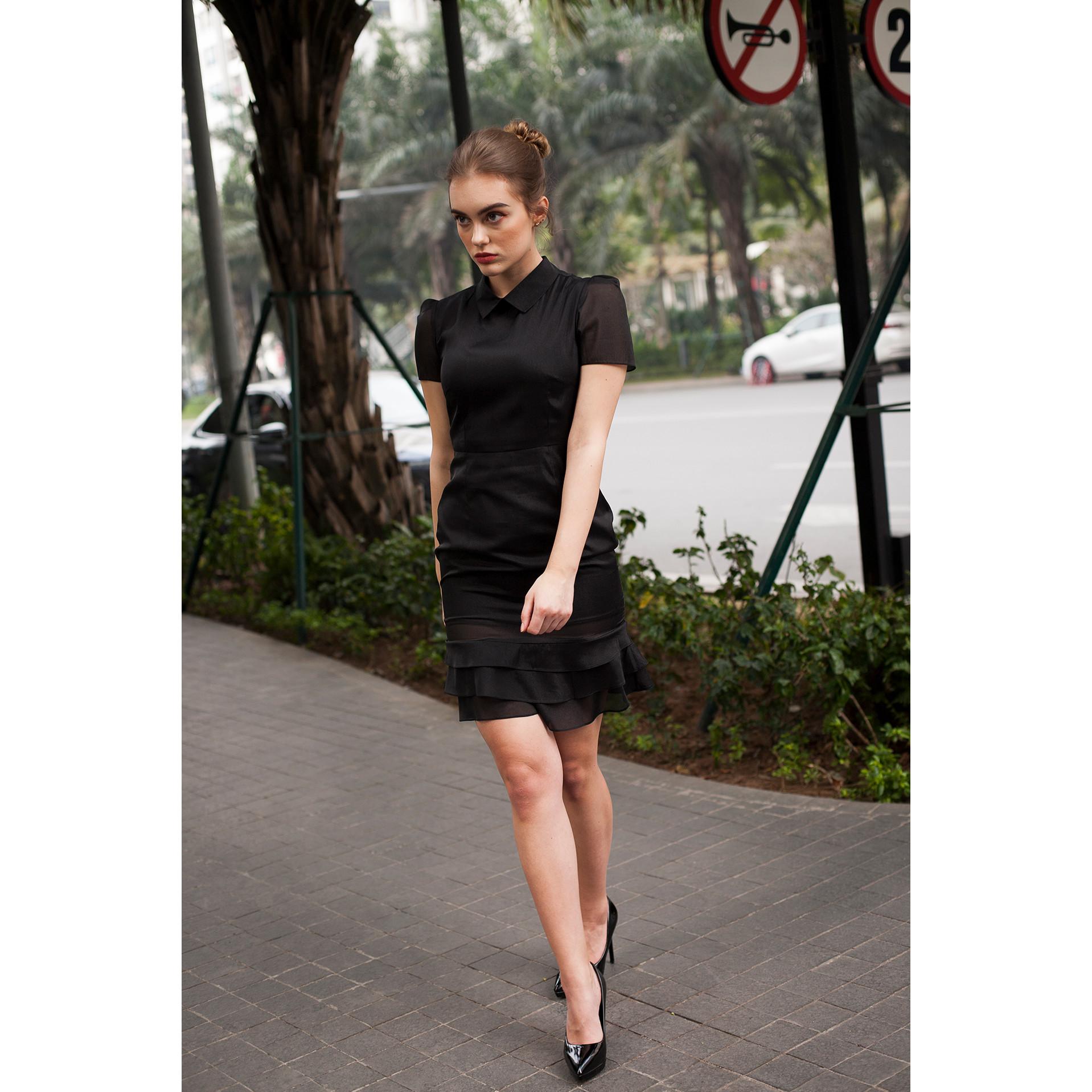 Váy Đầm Dáng Ôm Body Xoè 3 Tầng Cổ Đức, Đầm Ngắn Tay Thời Trang Dự Tiệc Cao Cấp Đẹp Thanh Lịch Tinh Tế Công Sở