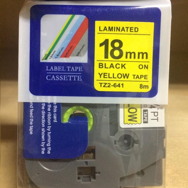 Combo 02 nhãn in TZ2-641 tiêu chuẩn - Chữ đen trên nền vàng 18mm - Hàng nhập khẩu