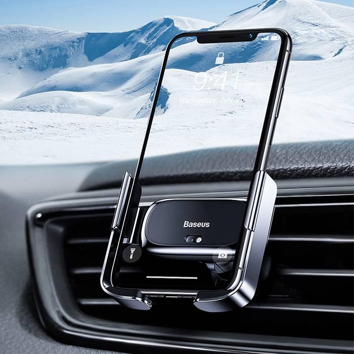 Giá đỡ đế giữ cảm biếncho điện thoại kẹp lỗ thoát khí hiệu Baseus Mini Electric Car Holderdùng trên xe hơi xe ô tô Khóa thông minh tự động - Hàng nhập khẩu