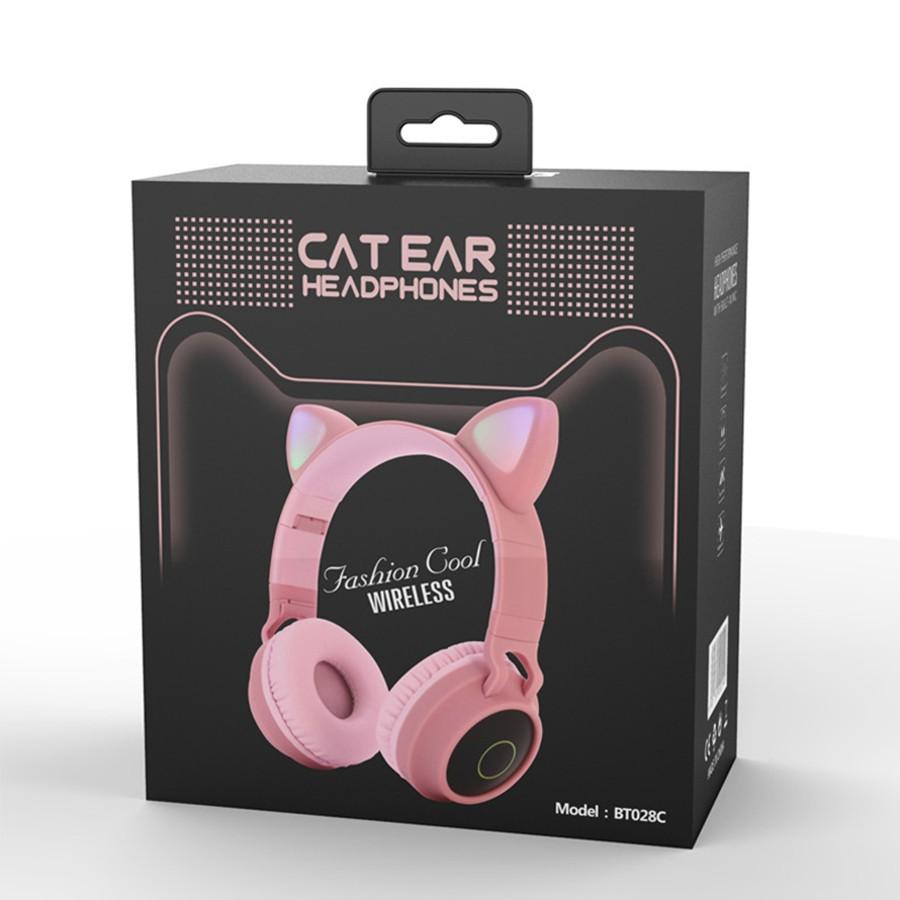 Tai nghe chụp tai bluetooth, tai nghe mèo không dây siêu dễ thương có đèn led đổi màu cực đẹp