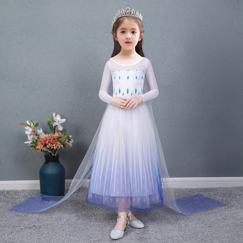 đầm công chúa elsa bé gái kim tuyến lấp lánh tà dài