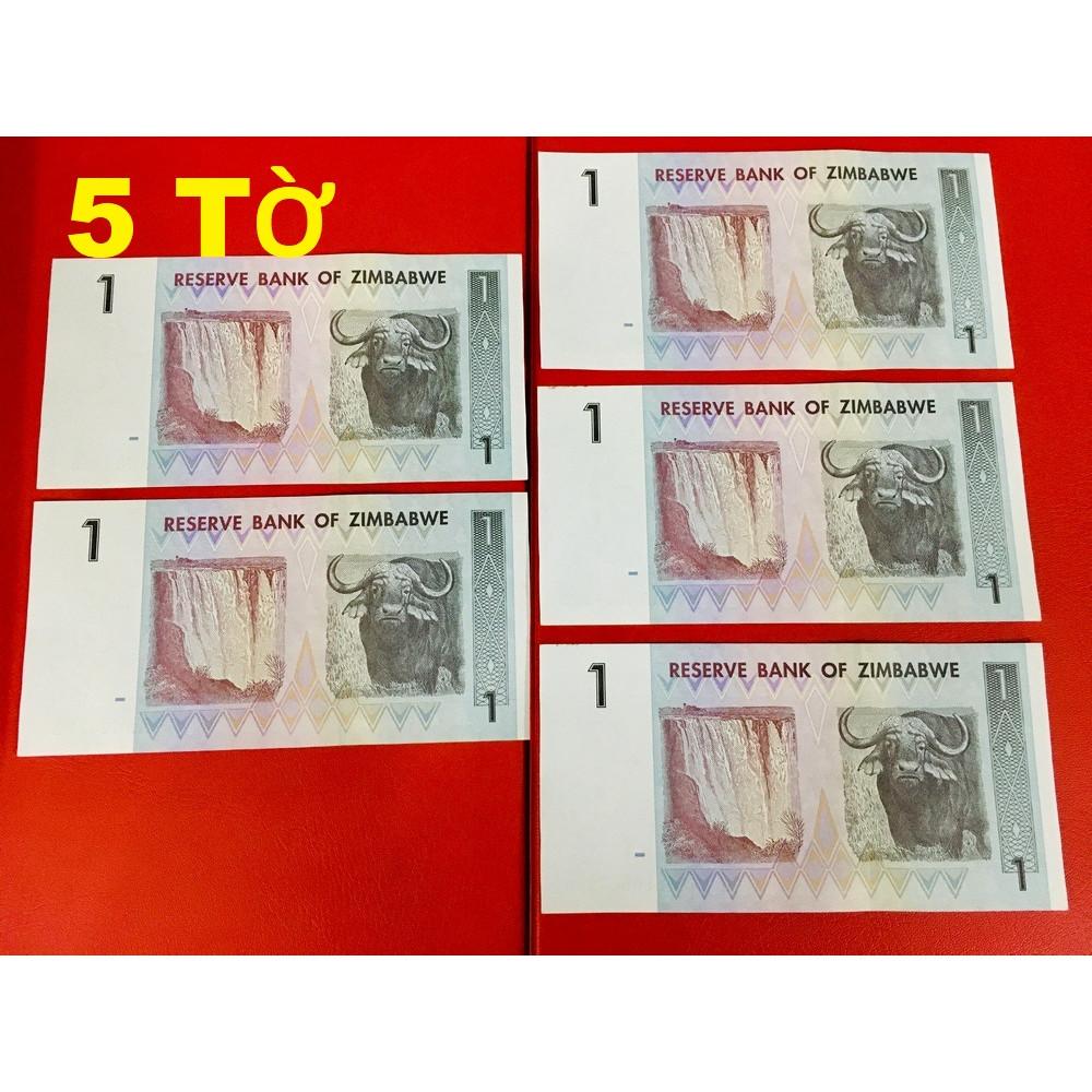 05 Tờ 1 dollar Zimbabwe hình trâu làm quà tặng Tết - tặng bao lì xì - The Merrick Mint