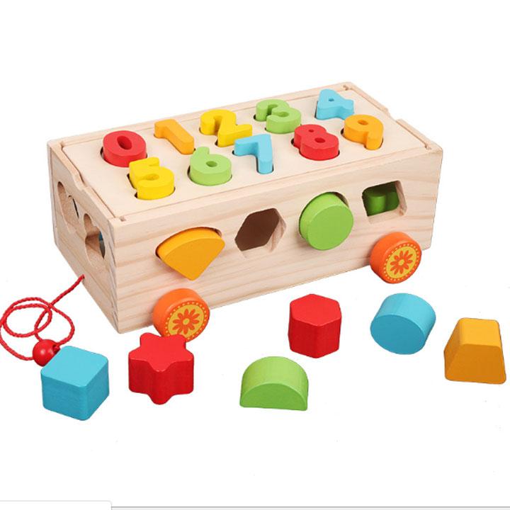 Đồ chơi giáo dục xe kéo thả hình 13 hình học kèm số