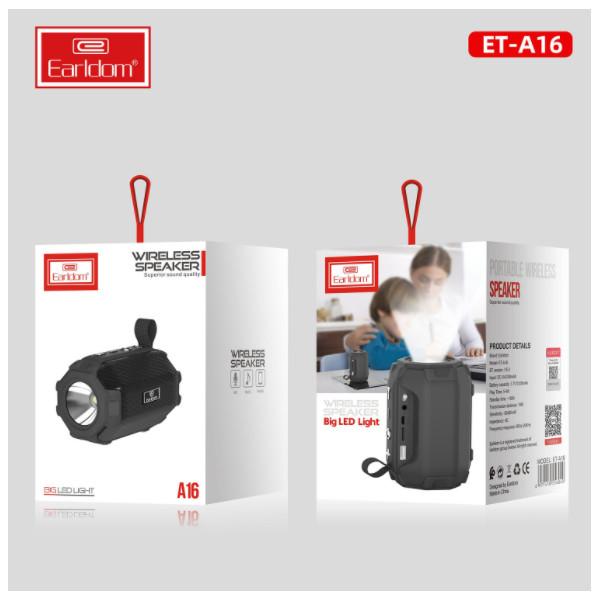 Loa Bluetooth tích hợp Đèn Pin Earldom A16 - HÀNG NHẬP KHẨU CHÍNH HÃNG 100% (giao màu ngẫu nhiên)
