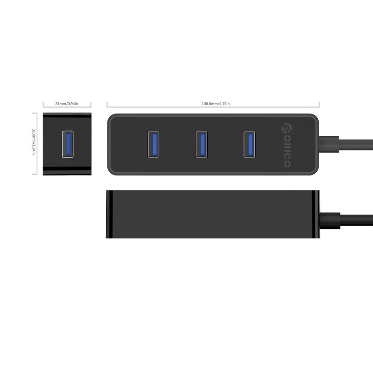 Hub chia usb Orico W5PH4 -U3, Bộ chia kết nối USB 3.0 ra 4 cổng - Hàng chính hãng