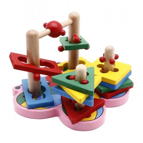 Bộ đồ chơi thả hình trụ zigzag 3D đế bướm bằng gỗ nổi