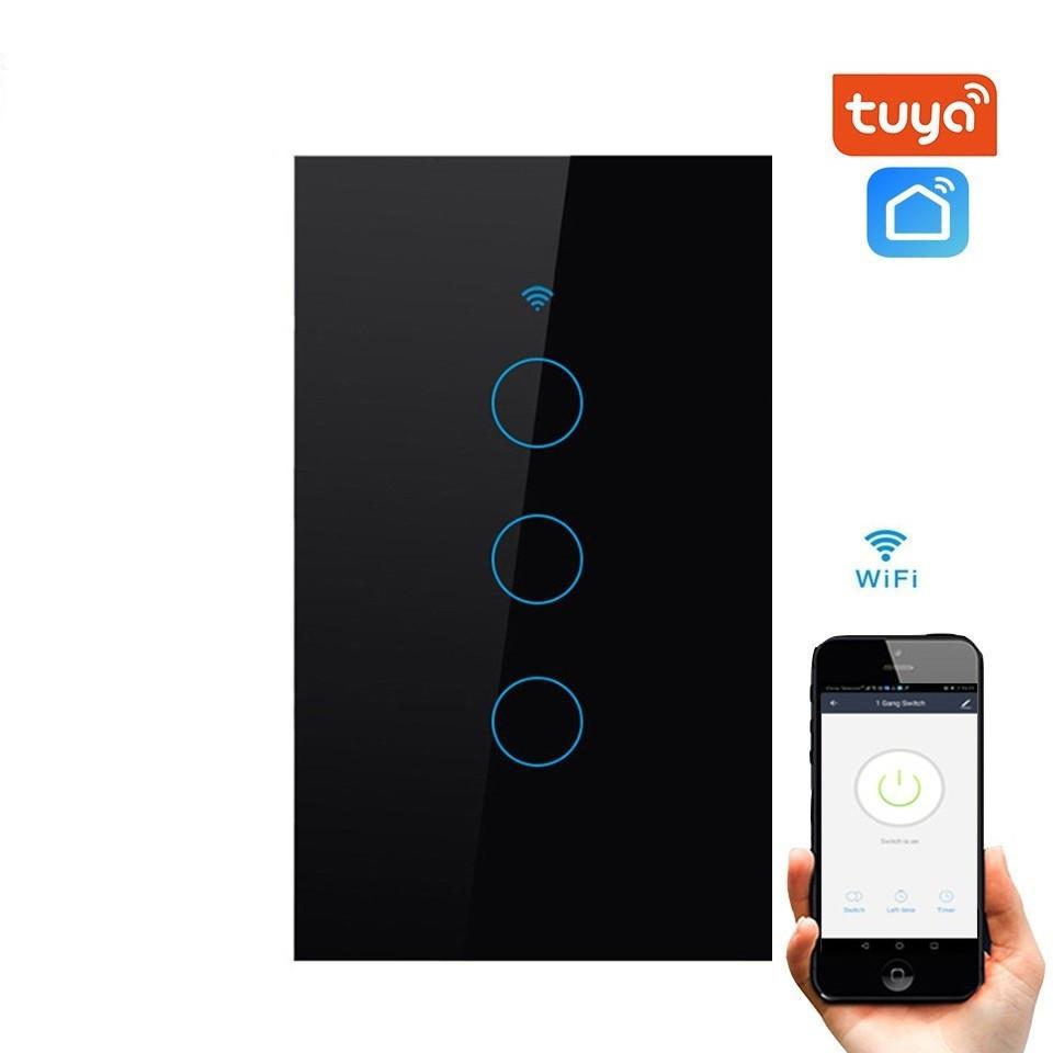 Công tắc wifi thông minh 3 nút cảm ứng tuya smart chuẩn us đều khiển trực tiếp qua điện thoại
