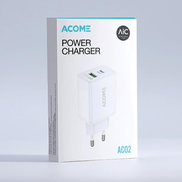 Cốc Sạc Nhanh 18W ACOME AC02 – Cổng USB + Type-C, Nguồn ra 3A Chuẩn PD, Quick Charge 3.0  – HÀNG CHÍNH HÃNG