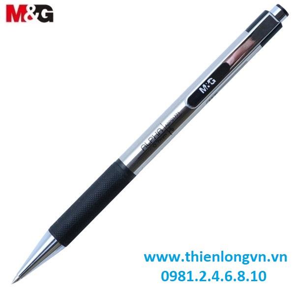 Hộp 12 cây Bút bi thân inox 0.7mm M&G - ABP01771 mực đen