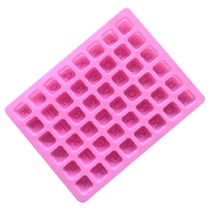 Khuôn silicon làm thạch rau câu, socola 48 chữ cái và ký tự số