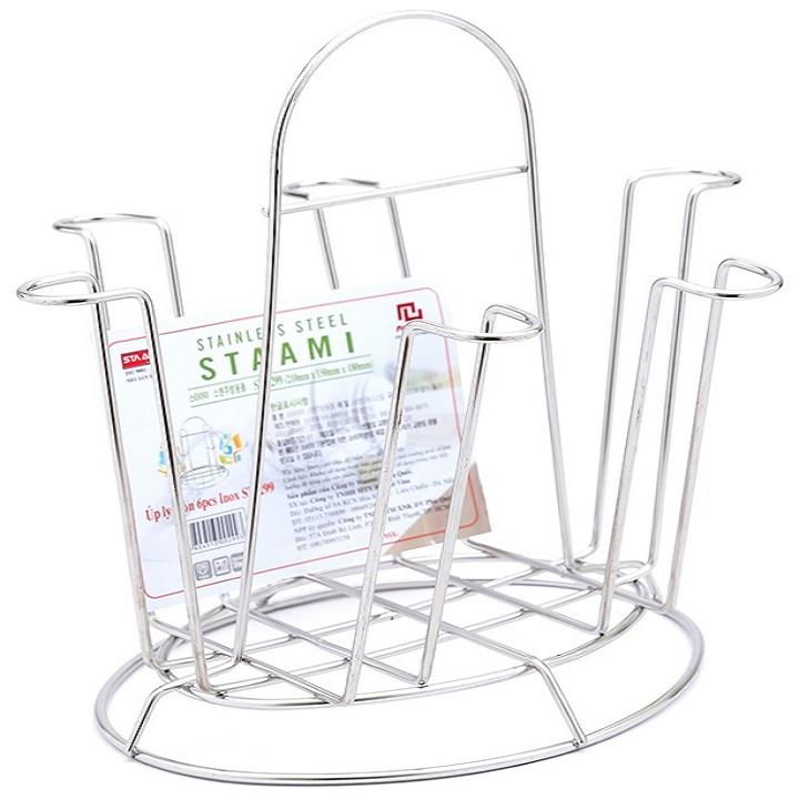 Giá úp ly tròn inox cao cấp không gỉ kiểu Hàn Quốc ST-299 (21 x 15 x 18 cm)