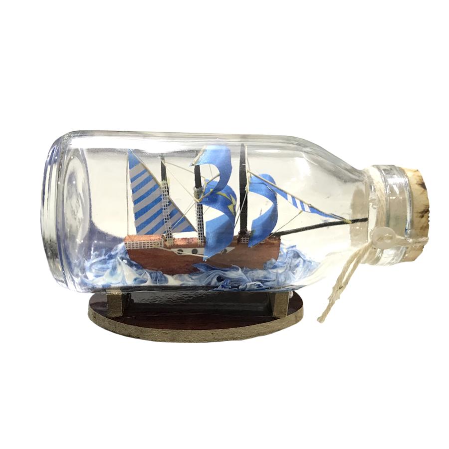 Mô Hình Thuyền Gỗ Trong Chai Thủy Tinh Kèm Tiểu Cảnh N10