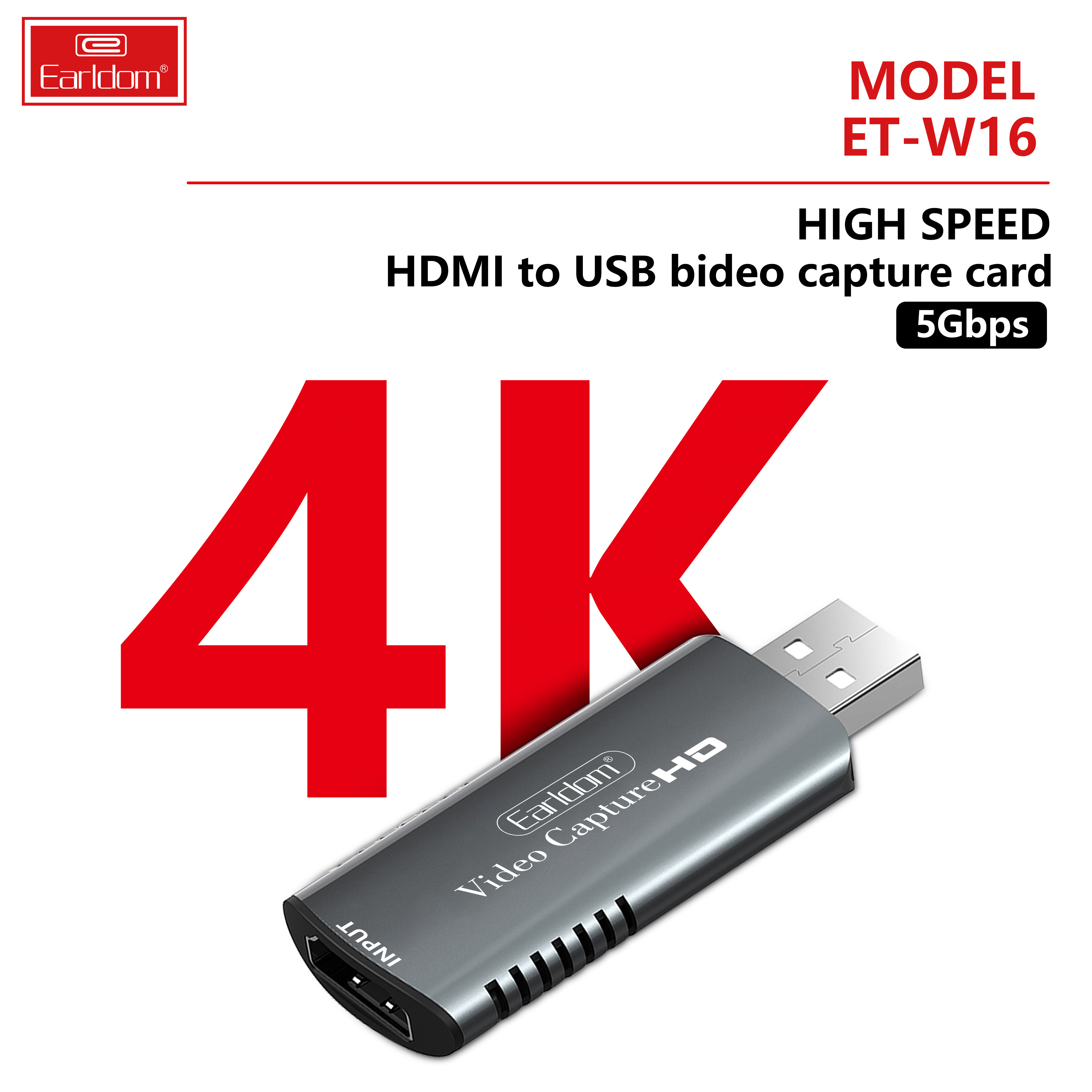 Bộ Chuyển HDMI to USB Video Capture Earldom W16 - Hỗ Trợ Live Stream, Ghi Hình Từ Điện Thoại, Camera, PS4, XBOX (Màu Ngẫu Nhiên) - Hàng Chính Hãng