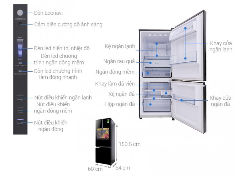 Thông số kỹ thuật Tủ lạnh Panasonic Inverter 255 lít NR-BV288GKV2