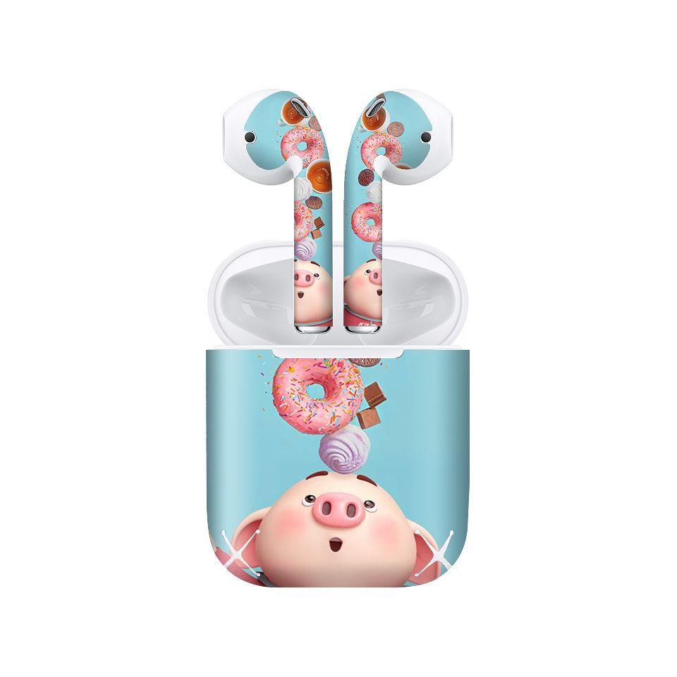 Miếng dán skin chống bẩn cho tai nghe AirPods in hình Heo con dễ thương - HEO2k19 - 146 (bản không dây 1 và 2)