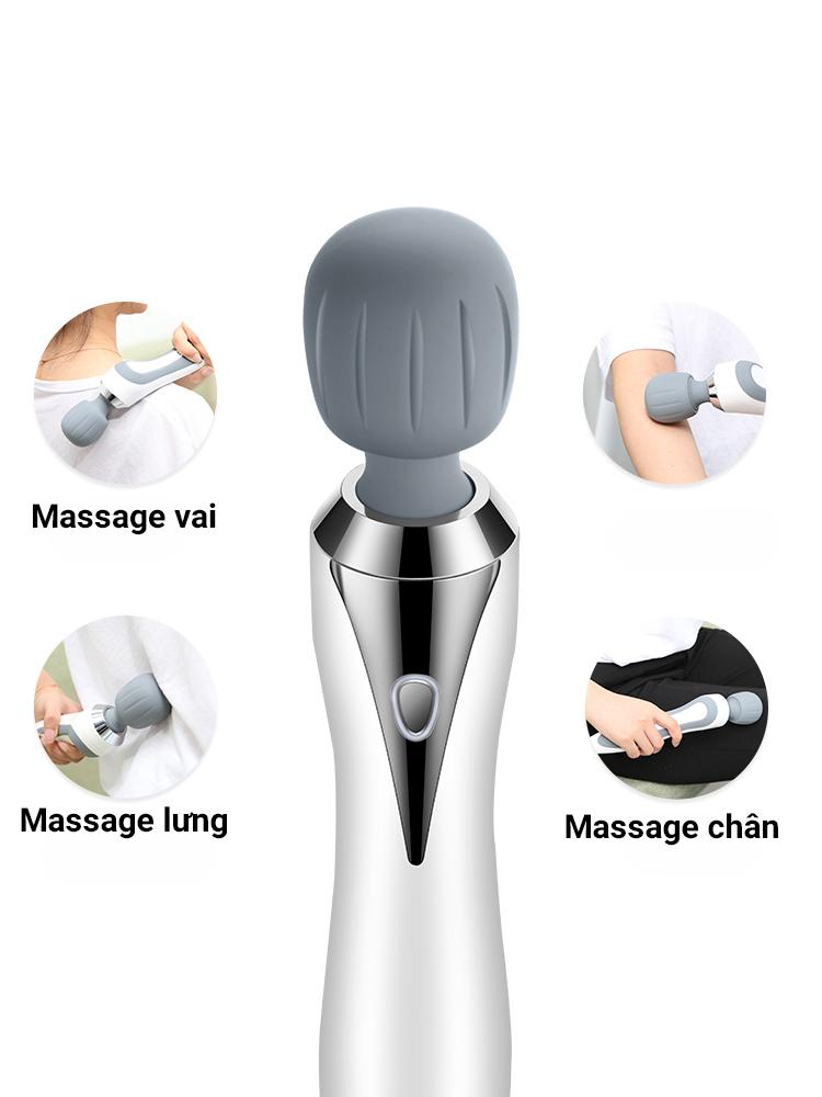 Máy Massage Cầm Tay Jinkairui, 5 Chế Độ Rung, Chống Nước IPX7 - Tặng Kèm Máy Massage Mắt Mini - Hàng Nhập Khẩu
