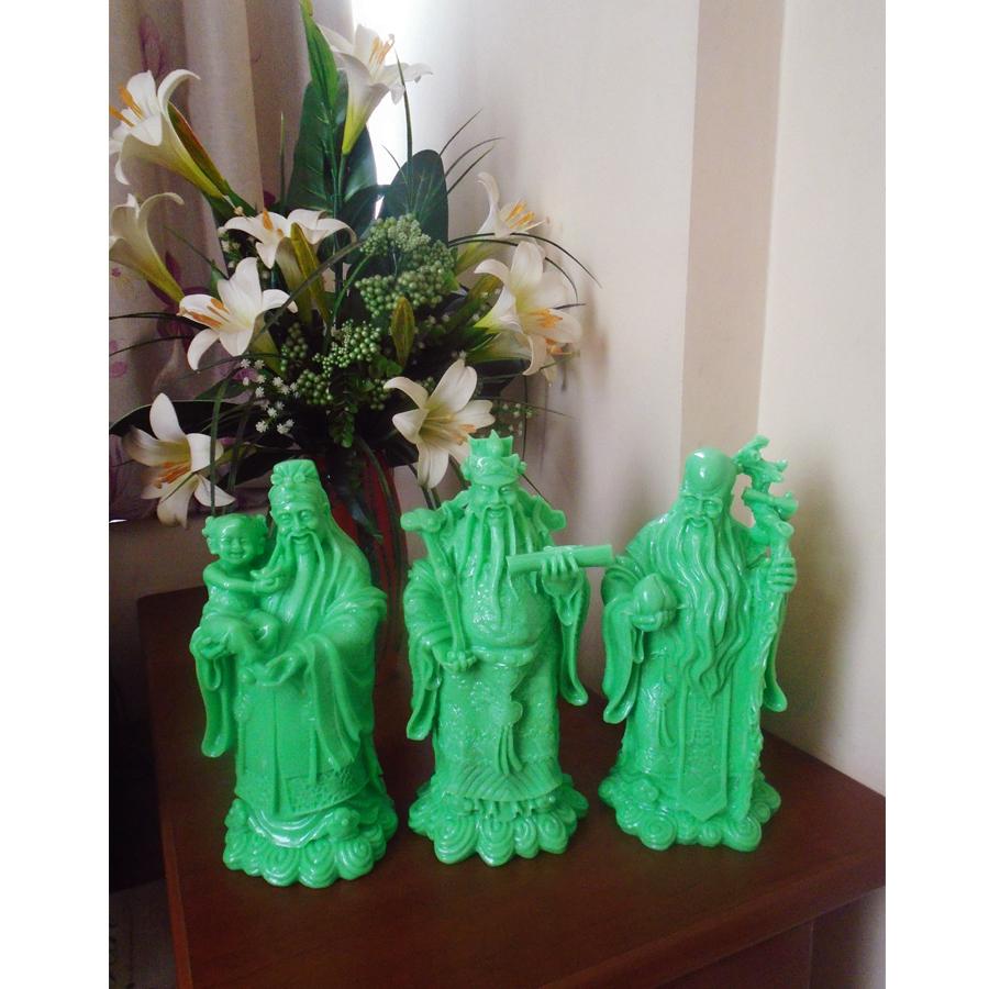 Bộ tượng đá Phúc Lộc Thọ xanh ngọc đại TDX37