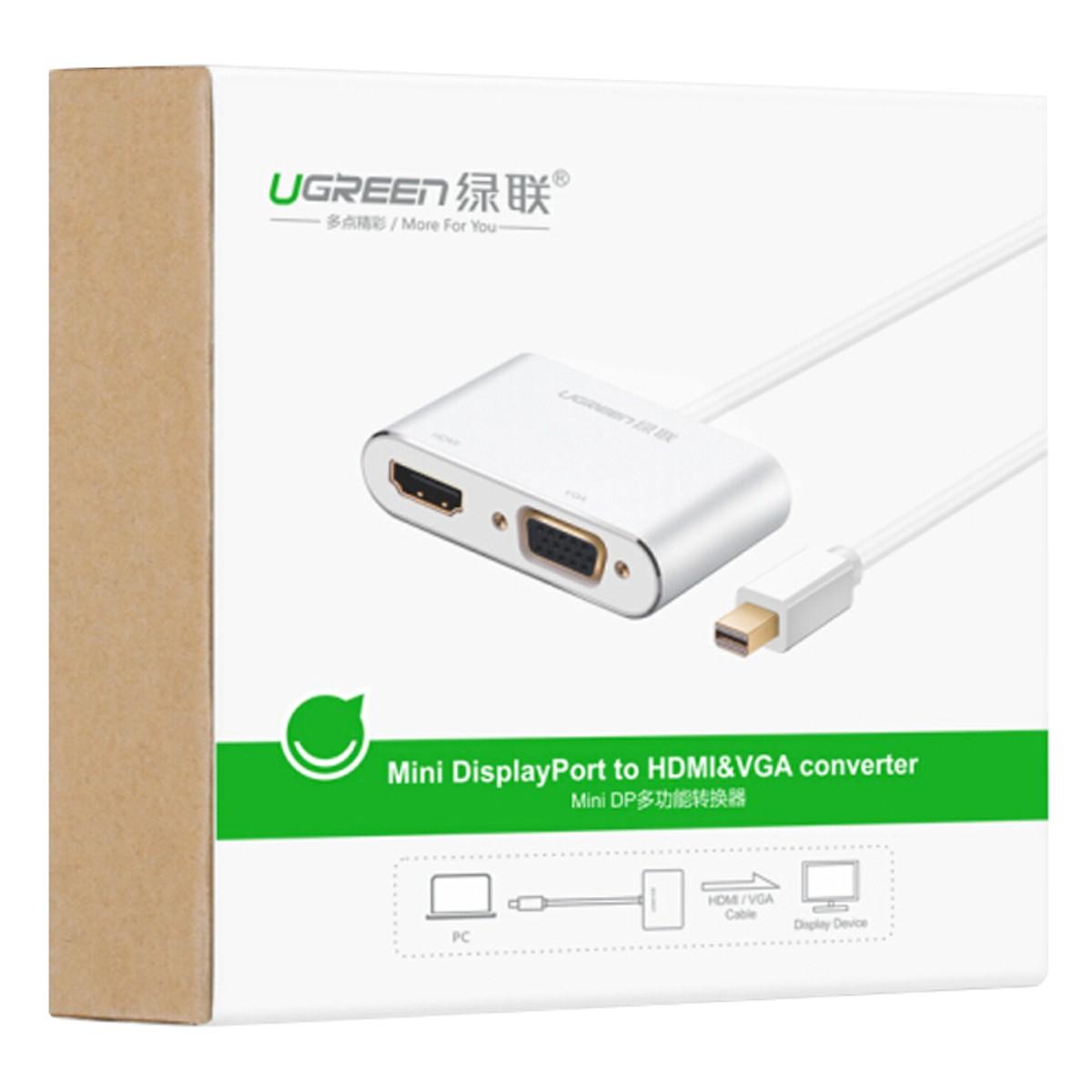 Cáp Chuyển Đổi Mini Displayport Sang HDMI và VGA UGREEN 20421 - Hàng Chính Hãng (Tặng kèm tai nghe điện thoại)