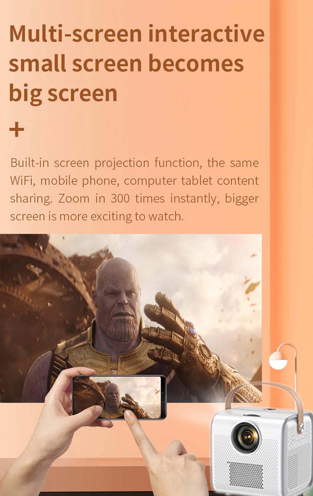 Máy Chiếu Thông Minh Thế Hệ Mới Hỗ Trợ Tiếng Việt HĐH Android 6.0 RAM 1Gb/ROM 8Gb Kết Nối Wifi, Bluetooth 4.0 Các Cổng AV/USB/HDMI/TF Độ Phân Giải Full HD 1280x720p Kèm Chân Đế Xoay