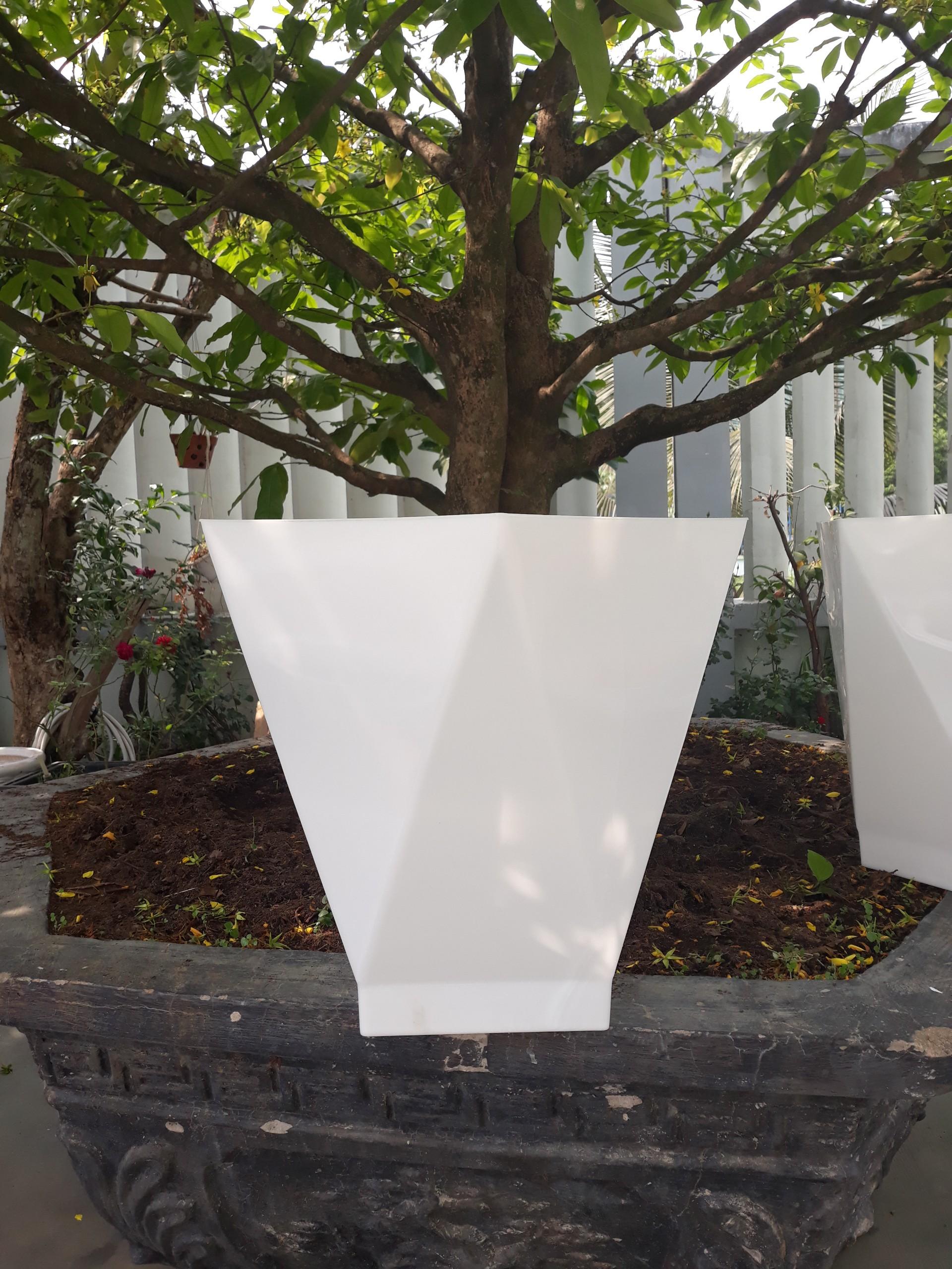 Chậu Nhựa Trồng Cây Vuông Vát Cạnh Để Bàn Giả Sứ Cao Cấp (21x12.5x19.5cm) Thiết Kế Tinh Xảo, Bền Đẹp Thích Hợp Trồng Cây Cảnh, Cây Ăn Quả, Chất Liệu Nhựa ABS Cao Cấp - Hàng VNXK Châu Âu