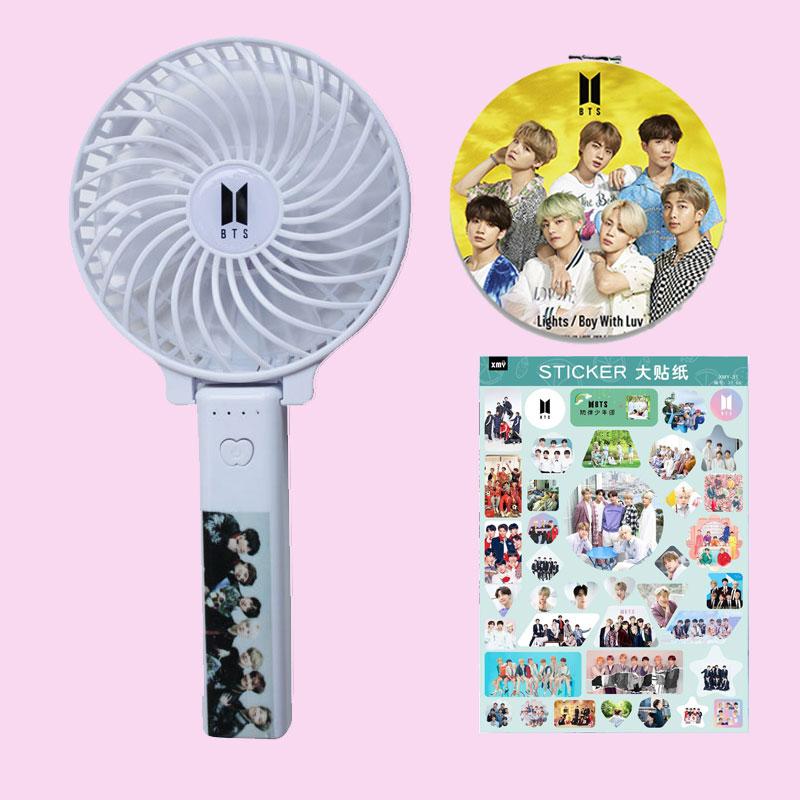Combo gương mini BTS + Quạt tích điện BTS tặng Sticker BTS