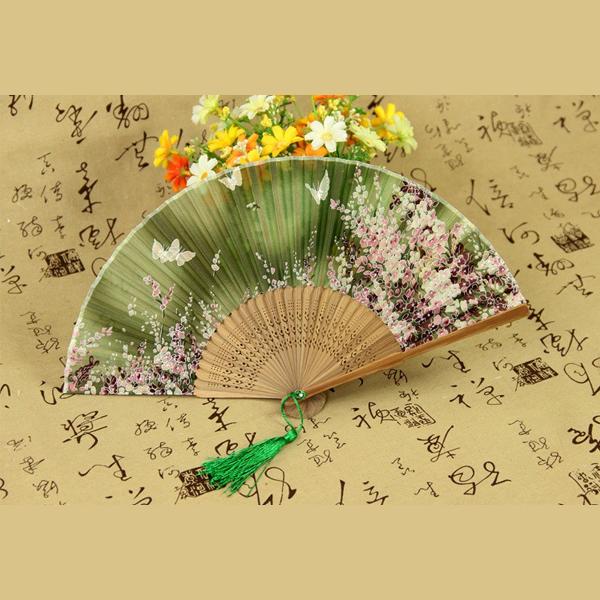 Quạt cổ trang dây tuyến điệp luyến hoa bản đẹp ver xanh lá nan vàng