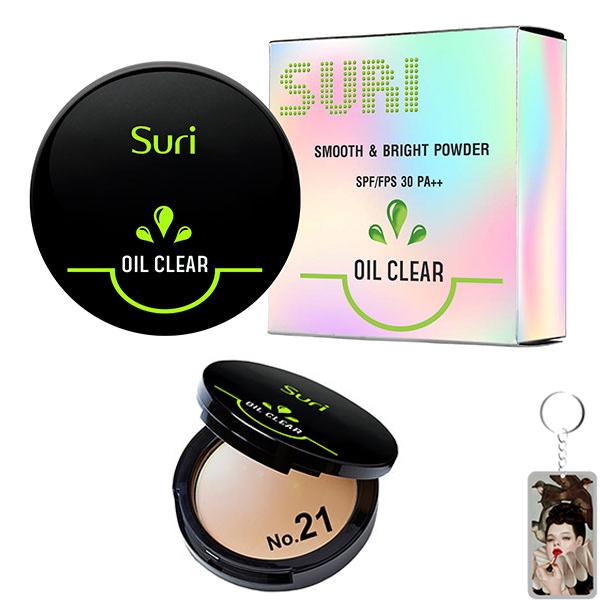 Phấn Trang Điểm Suri Oil Clear Smooth & Bright Powder Hàn Quốc 12g # No.21 Da tự nhiên tặng kèm móc khóa