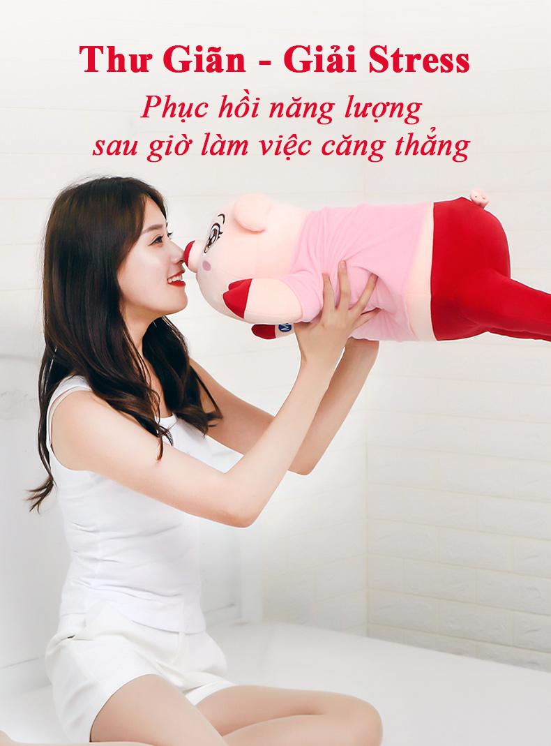 Gối massage Heo Con Dễ Thương tích hợp nhiệt hồng ngoại massage nhiệt đa tính năng Hàng chính hãng