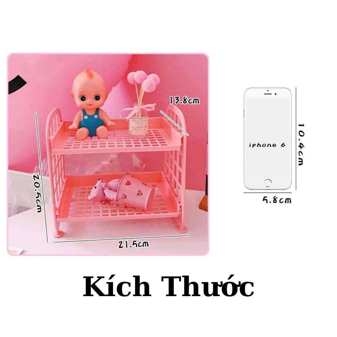 Kệ Nhựa Mini 2 Tầng Mini Đựng Đồ Đa Năng Siêu Xinh, Kệ Đựng Đồ Hàn Quốc Dễ Thương