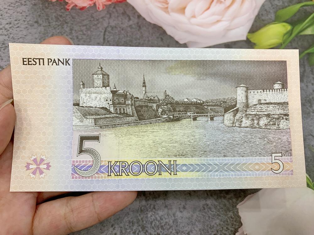 Tiền Estonia 5 Krooni sưu tầm , quốc gia châu Âu, mới 100% UNC, tặng túi nilon bảo quản