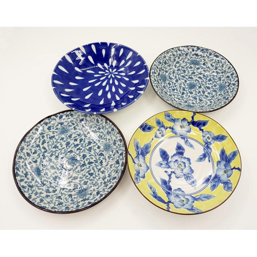 Đĩa Ceramic Sâu Lòng Họa Tiết Mẫu Hoa Màu Cao Cấp - Nội Địa Nhật Bản