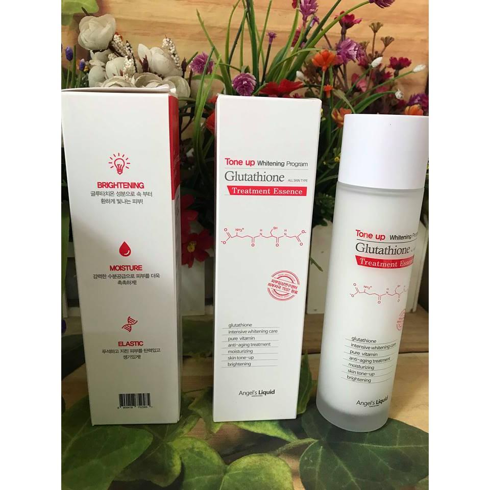 Nước cân bằng dưỡng trắng , mịn , sáng da Angel's Liquid Tone up Whitening Program Glutathione Essence 150ml
