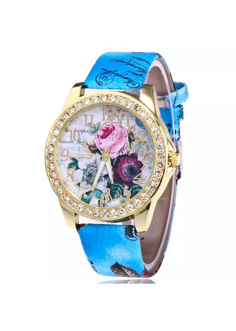 Đồng hồ đeo tay nữ họa tiết hoa hồng 3D thời trang cực đẹp DH93
