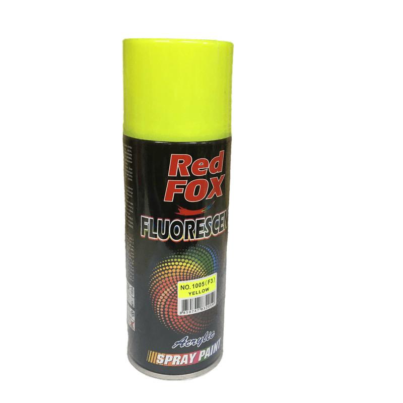 Bình phun sơn xịt Redfox huỳnh quang 1002 (F6) hồng / 1005 (F3) vàng - Sơn xịt tạo phát quang dưới ánh đèn UV dùng để sơn trang trí các mẫu quảng cáo, thiết bị thể thao, biển báo,...