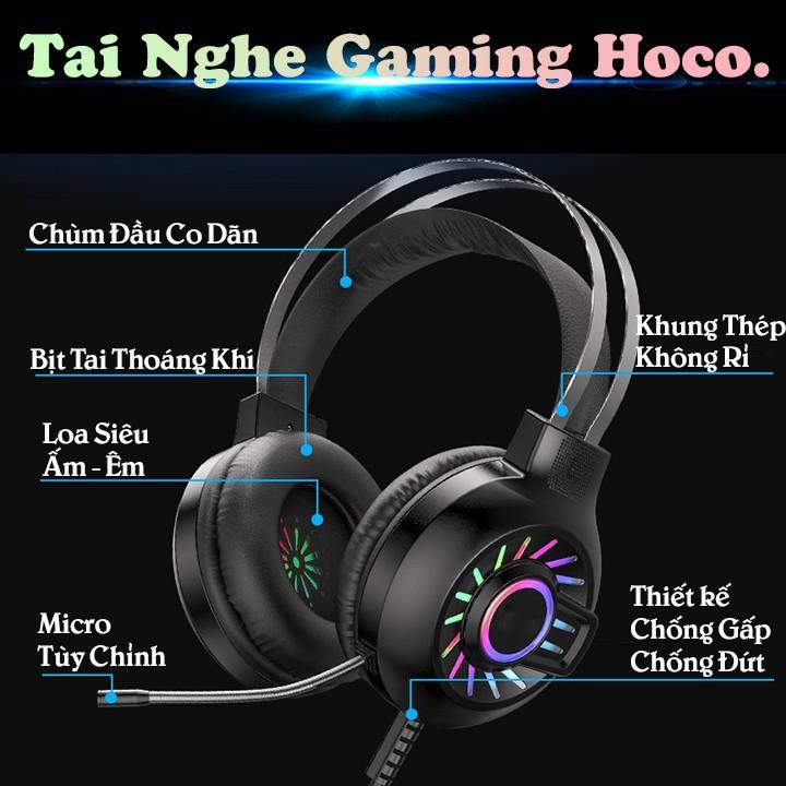 Tai nghe chụp Gaming Hoco ESD04 có mic đàm thoại Có Đèn LED Sêu Đẹp , Âm Thanh Siêu trong , nghe rõ từng chi tiết nhỏ  - Hàng nhập khẩu