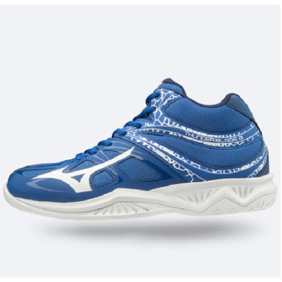 Giày cầu lông Mizuno Thunder Blade 2 V1GA197506 êm ái, thoáng khí, chống lật cổ chân, dành cho nam màu xanh đế trắng đủ size